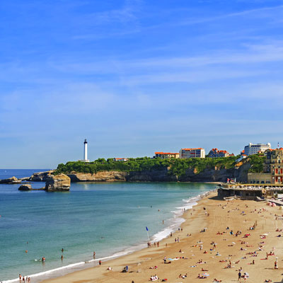 image of the Grande Plage, one of two great beaches in Biarritz