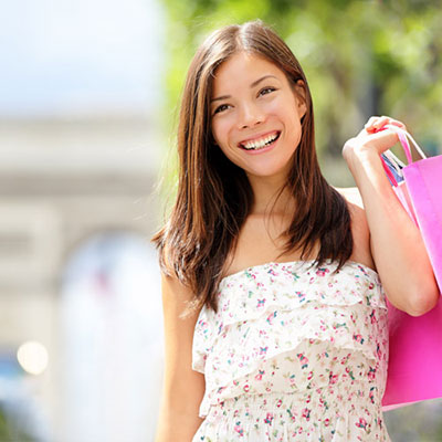 image of a young woman on a shopping trip